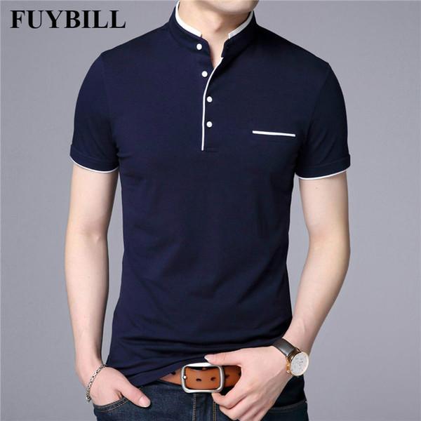 FuyBill Collar de mandarina Camiseta de manga corta Hombres 2018 Primavera Verano Nuevo estilo Top para hombre Ropa de marca Slim Fit Algodón