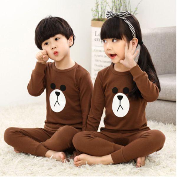 Cheap Pajamas Kids Autumn Winter Children Long Sleeve Sleepwear Sets Thin Cartoon Lovely Unisex Girls Boys Pajamas Sets