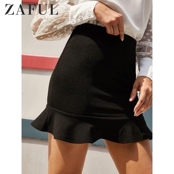 zaful flounce high waisted mini mermaid skirt trumpet 2019 elastic waist short female bottoms skirt solid daily women's skirts