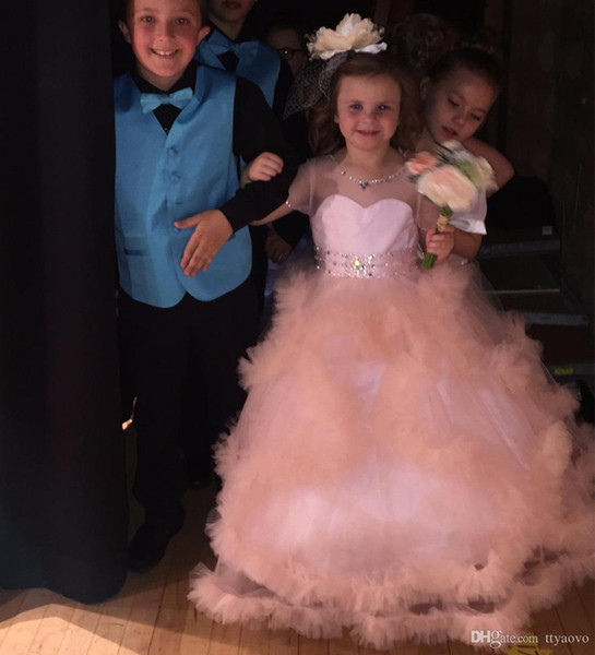 Stunning Flower Girl Dress V-Back Luxury Princess Pageant Tulle Ball Gowns for Girls 2-12 Year Old