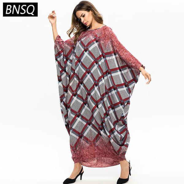 BNSQ Primavera Otoño 2019 Tamaños grandes Impresión a cuadros Mangas de murciélago Longitud del tobillo Maxi Vestido Cuello redondo Casual Mujeres Vestido largo de una pieza