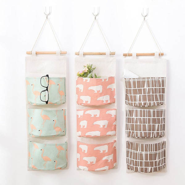 Cartoon Cotton Linen Hanging Bag Bathroom Waterproof Sundries Organiser Dorm Closet Hanging Socks Bra Storage Basket 10 Pieces DHL