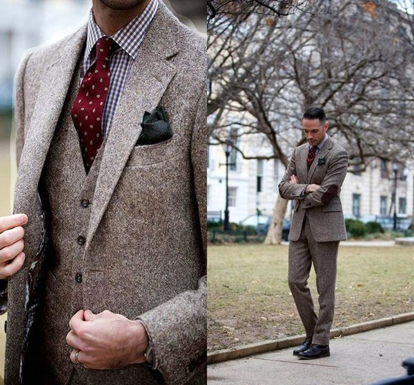 Clássico Inverno Tweed Ternos Com Patch Design Vintage Brown Tweed Ternos Dos Homens Traje Homme Ternos De Casamento Formal de Negócios Inteligente