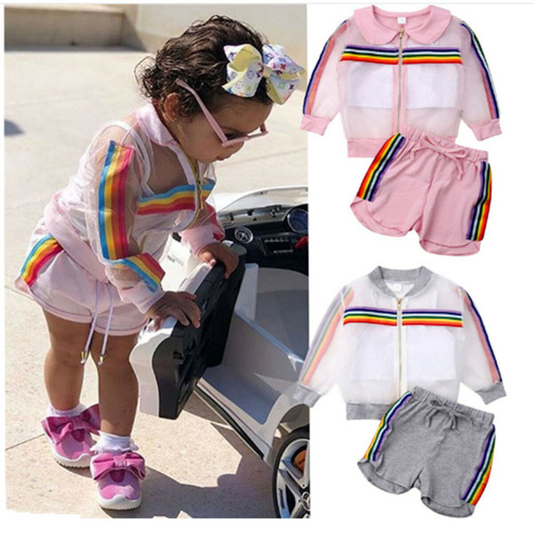 best selling kids designer clothes girls outdoor sport outfits children Rainbow stripe coat+vest+shorts 3pcs set 2019 summer baby Clothing Sets C6583