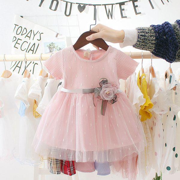 2colors été enfant en bas âge Infant Girls Coton Mesh Tutu Robes Cute Kids Birthday Party Vêtements 0-3Y Baby Girl Princess Dress