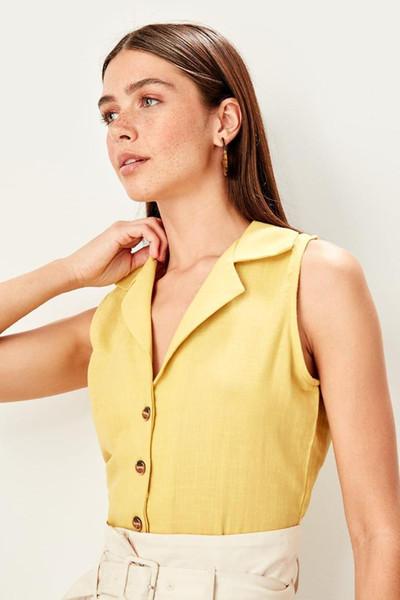 Trendyol Sarı Kolsuz Gömlek TWOSS19AP0268