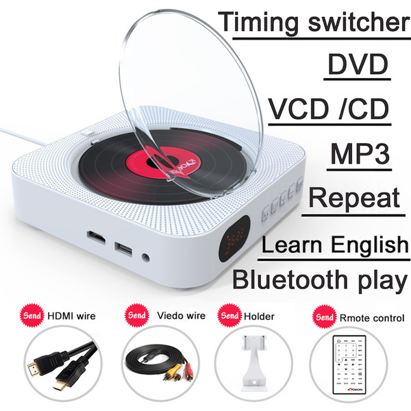 DVD Player Wall Mountable Portable with HDMI Full-HD Output for TV AV White Built-In Hifi Home Audio With Remote Control Bluetooth