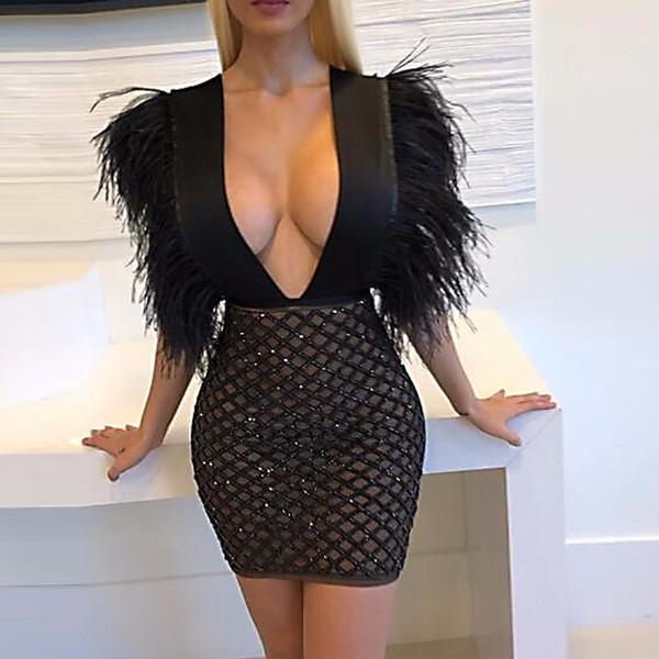 Nouveau Femmes Robe De Mode Plume Sequin Robes De Soirée Femmes Sexy Col En V Discothèque Porter Des Robes Noir Lady Vestidos