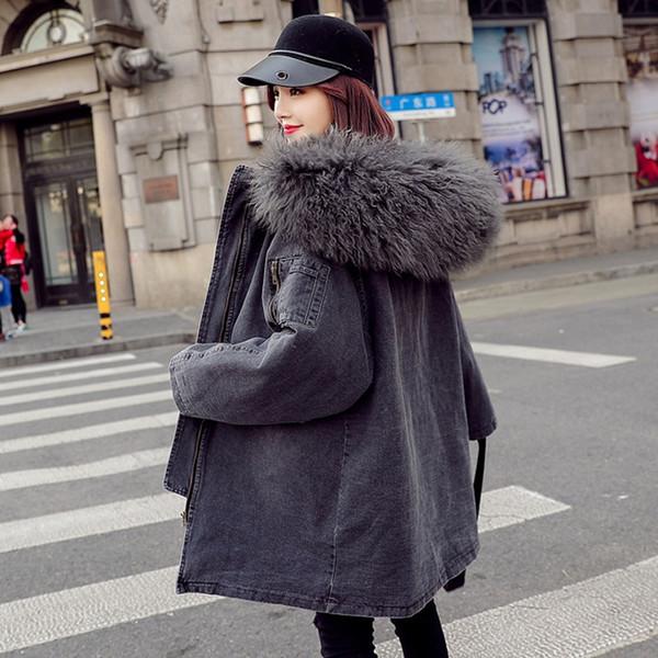 Long Winter Cotton Jacket Coat Women Thicken Warm Cotton-padded Parka Female Hooded Jeans Denim Jacket Ladies Lambswool Overcoat