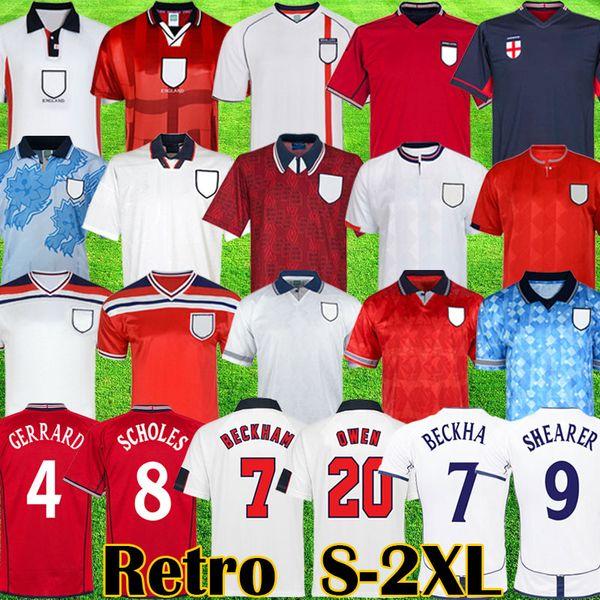 top popular Retro classic 1982 1994 1998 2002 World cup England soccer jerseys home away kits BECKHAM GASCOIGNE OWEN GERRARD Retro football shirt S 2XL 2021