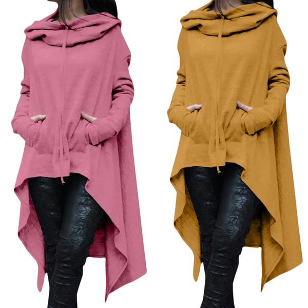 Женская плюс размер больших размеров Свободные платья с капюшоном Длинные джемперы с капюшоном Топы повседневная толстовка свитер Асимметричные толстовки S-5XL