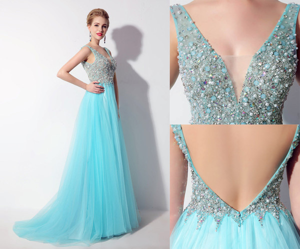 Luxury Embroidery Pearls Beads Sequins Arab Muslim Sexy Prom Weding Evening Gowns 2019 Deep V-Neck Backless A Line Bridal Dress Vestido De