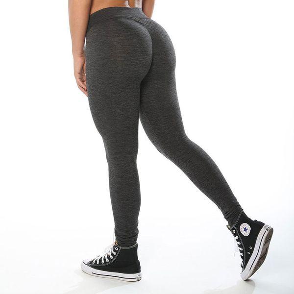 Women Elastic Hip Push Up Leggings Black Grey Light Gray Skinny New Arrival Ladies Plain Elastic Waist Color Pants