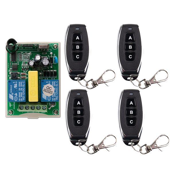 AC 220 V RF 2CH Télécommande sans fil Récepteur + Émetteur Moteur tubulaire Porte de garage Écran de projection 3 boutons
