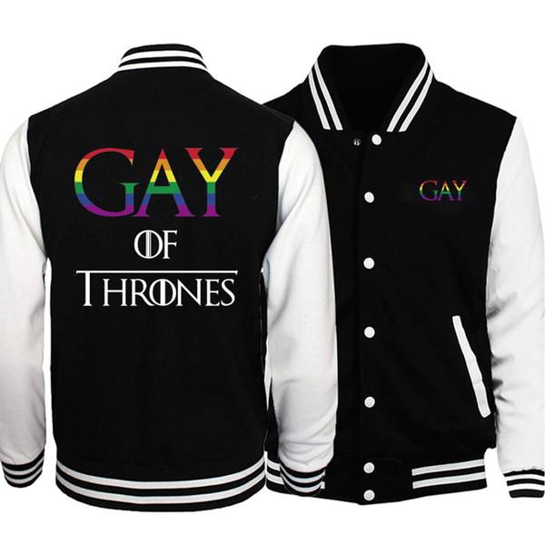 Lustige Homosexuell Of Thrones Homosexuell Schwarz Weiß Baseball Jacket Men Herbst Plus Size Hip Hop Sportswear Männer Outwear Mantel-beiläufige Sportkleidung