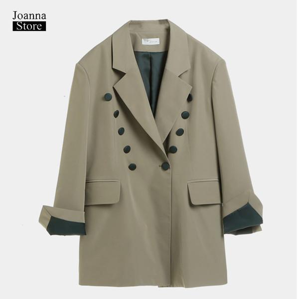 Uzun artı boyutu kadın blazer ve ceketler vintage zarif ofis bayanlar blazer yeşil bahar sonbahar palto rahat streetwear ceket