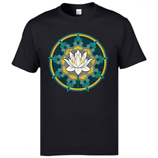 Holy Lotus Hindustan Klassische T-shirts Druck Religion Buddhismus Geist T-shirts Für Männer Gute Qualität Baumwolle Lose T-shirts