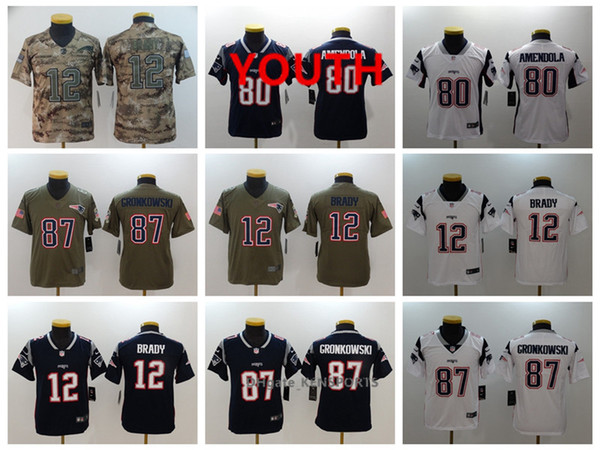 best cheap a8028 a0f8f 2019 Youth New Football Patriots Jersey 12 Tom Brady 80 Danny Amendola 87  Rob Gronkowski Color Rush All Stitching Jerseys From Yengoh, $21.32 | ...