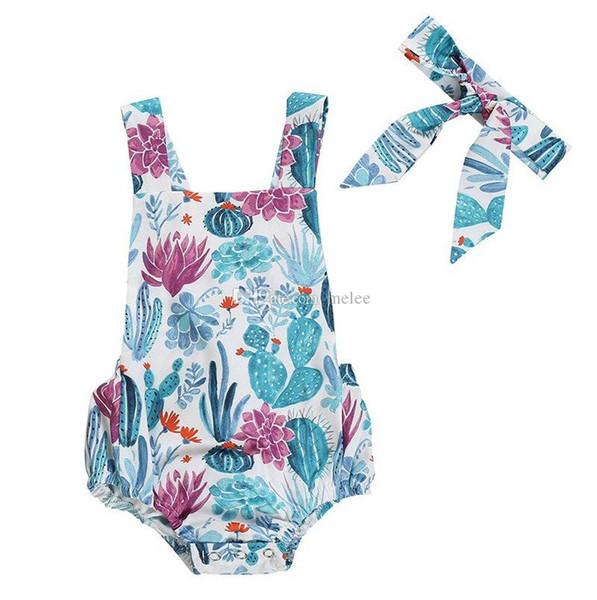 Newborn Toddler Kids Baby Girl Summer Swimsuit Cactus Print Swimwear Beachwear Romper & Headband 2PCS SETS Infantil Girls Clothes