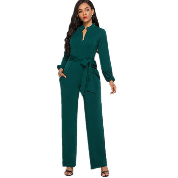 Spring Fashion Women's Waist Drop-shaped Neckline with Button and Belt Wide-leg Jumpsuit Office Lady Solid Color Streetwear