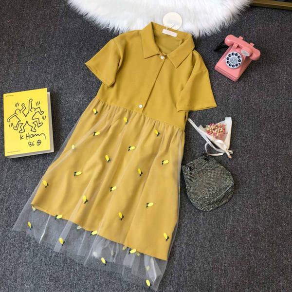 Diseñador de la marca Vestido Vestido de lujo Vestidos de verano Moda Estilo refrescante Diseño de encaje Falda de las mujeres Ropa Color amarillo S-L Alta calidad