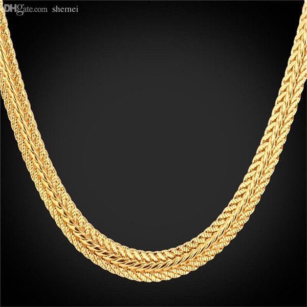 Toptan-Altın Tilki Kuyruğu Kolye 18K 'Pul Platin / 18K Gerçek Altın Kaplama / Gül Altın Trendy 46CM / 55CM / Erkekler N942 için 66CM Altın Zincir Kolye