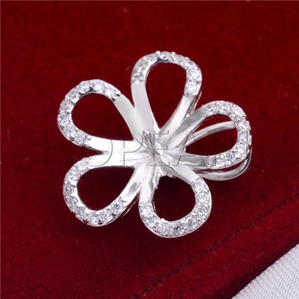 HOPEARL Gioielli Five Petals Flowers Findings 925 Sterling Silver Clear Zircons Ciondolo per attaccare la perla