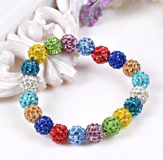 20 color Fashion Handmade Crystal Shambala Bangles Strand Shambala Charm Rhinestone Stone Chain Beads Bracelets For Women