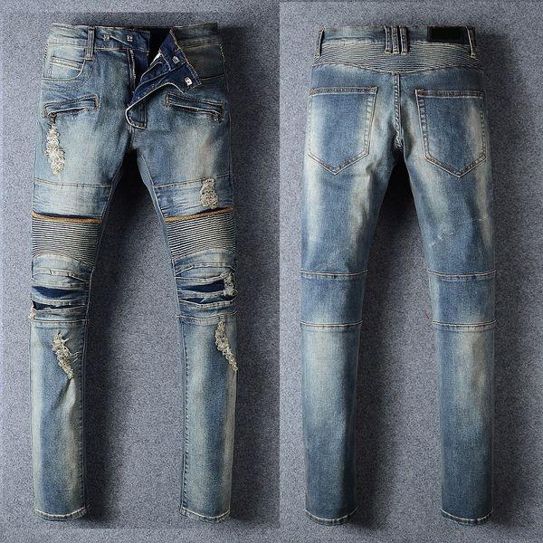 New # 971 Men's Embellished Ripped Biker Stretch Slim distressed denim Blue Jean Size 28-42
