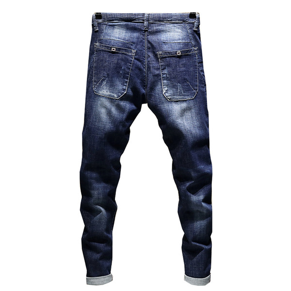 Jeans Men's Stretch Biker Ripped Pants Blue Drawstring Slim Fit Tapered Torn Distressed Boys Student Joggers 19SS