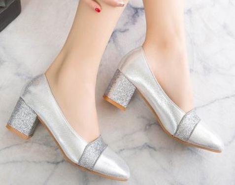 2019 женская обувь весной и осенью с новым стилем средний каблук грубый каблук указал конец @82