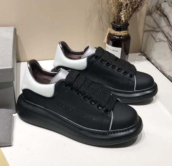 Top Quality Fashion Designer Women Shoes 3M Reflective white leather casual shoes girl men black gold red comfortable flat sneakers 12