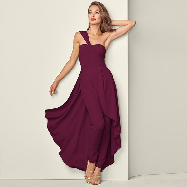Sleeveless Solid Spring Dinner Wedding Casual Jumpsuit Women Dress Unique Large Swing Fashion Polyester Slanted Shoulder Holiday