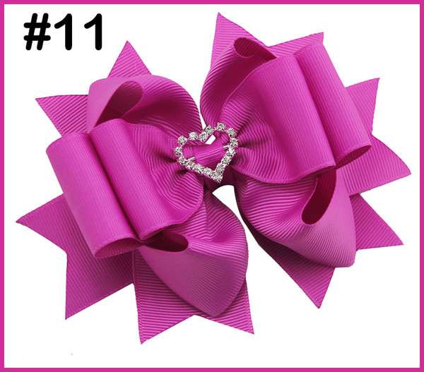 free shipping 24pcs 5-5.5'' rhinestones valentine's layered hair bows solid diamond big hair bows girl hair accessories with clips