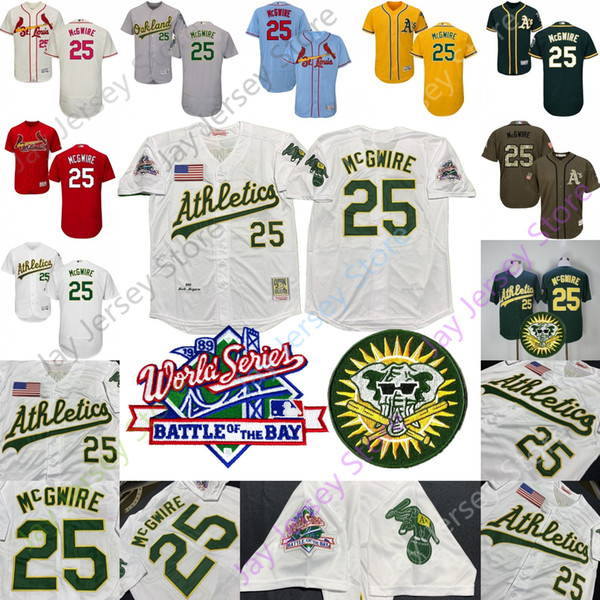 sports shoes 494f7 d9097 2019 Mark 25 McGwire Jersey Oakland 1989 Athletics World Series WS St.  Louis Cooperstown Cardinals Men Women Home Away From Morejersey, $16.26    ...