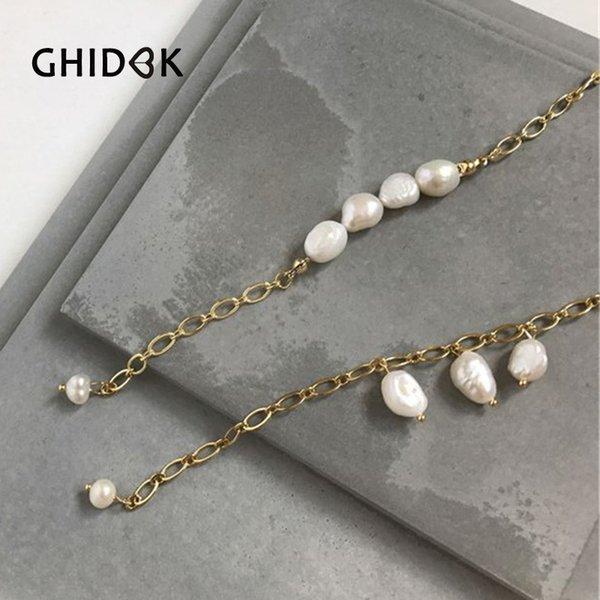 Gioielli GHIDBK oro barocco d'acqua dolce Infila braccialetto della perla della moneta delicato medaglione Ciondolo Bangle Boho Dainty Estate Armband
