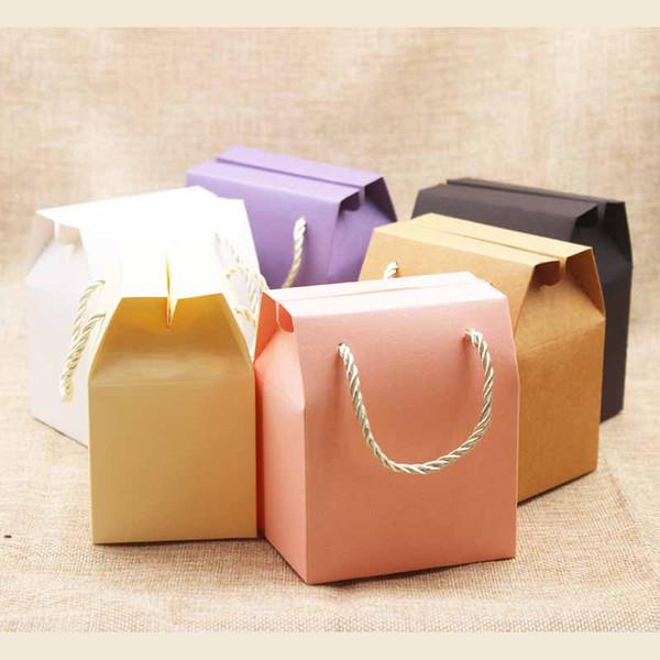 Feiluan 5 adet fildişi Kağıt Favor Çanta Kek Kutuları pembe düğün ambalaj Kutuları leylak Hediye Kutusu kolu ile kraft fındık paket kutu