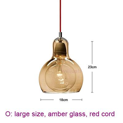 large, amber glass, red