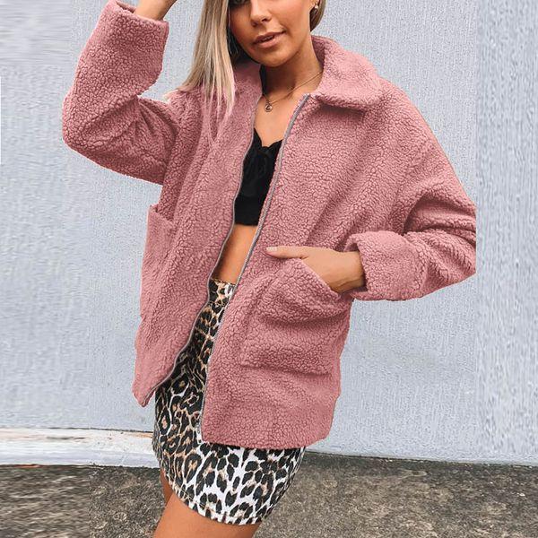 JAYCOSIN женская женская теплая куртка из искусственного меха Зимняя молния куртка верхняя одежда из искусственного меха сплошной цвет лацкан карман куртка