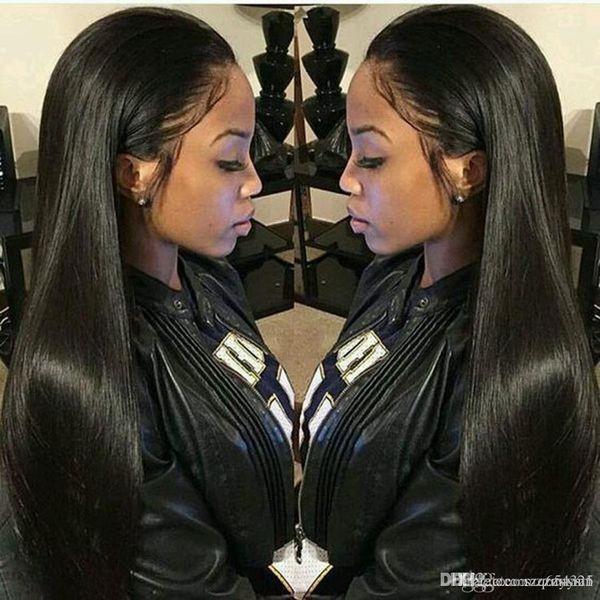 Recta del frente del cordón pelucas de pelo parte libre brasileña Remy peluca de pelo natural 24 Pre desplumados rayita + peluca neto