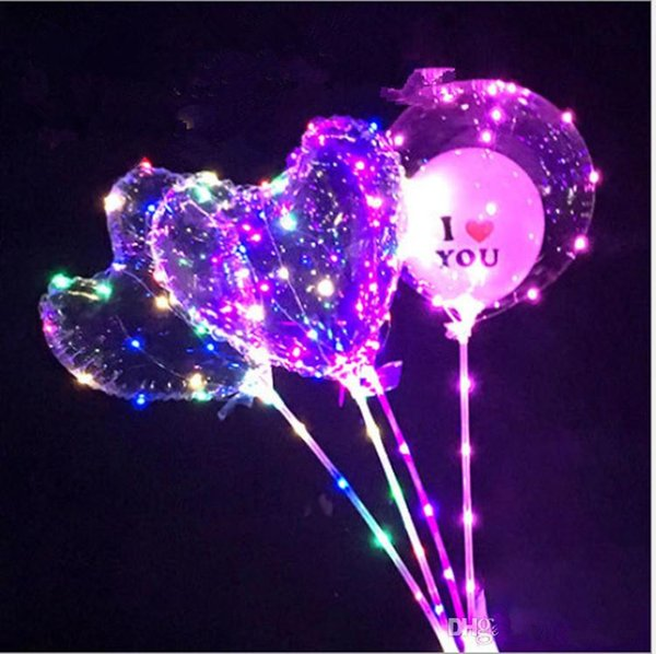 Love Heart LED Light Balloon BoBO Ball Luminous Transparent Hear Shape 3 Meters Balloons With Pole Toys for Valentine's Day Wedding Party