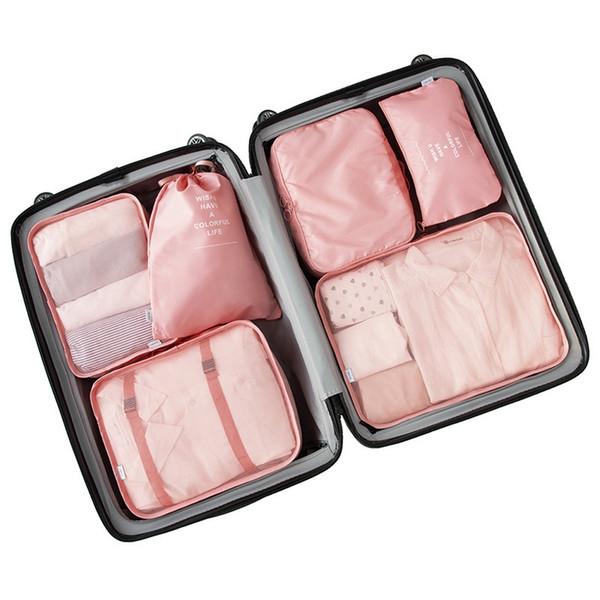 7pcs / Set de alto grado Maleta Organizador zapatos Organizador juego de maletas de lavandería Pouchs embalaje Set Viaje bolsa de almacenamiento