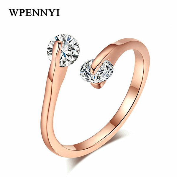 Twin Crystal 2 pcs Zirconia Open Style Fashion Woman Finger Ring Rose Gold Color Christmas Gifts Wholesale Accessories 18krgp stamp