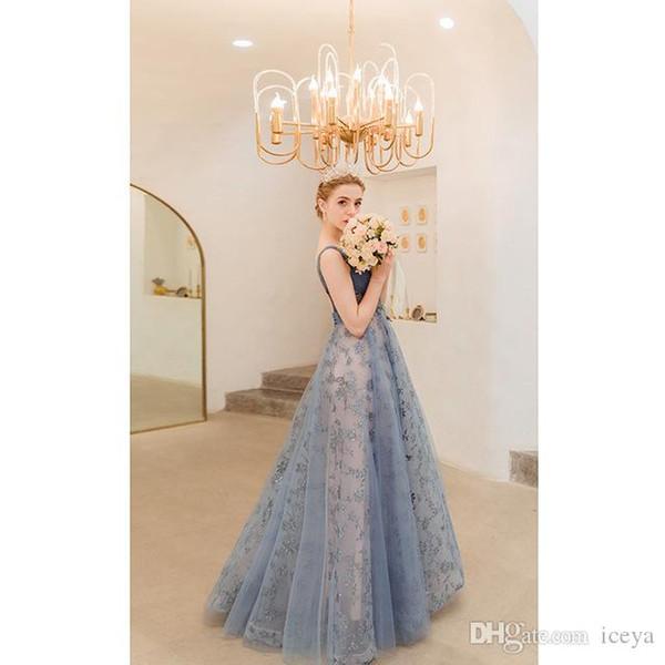 2019 nouvelle mode ciel étoilé bleu fumé fête d'anniversaire dîner performance annuelle robe de mariée défilé femme