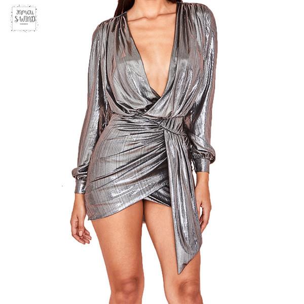 Блеск Искорка Мех платье Женщина Robe Sexy Club Deep Bling V-образный вырез Bodycon платье с длинным рукавом Vintage Mini Short Vestidos 2019