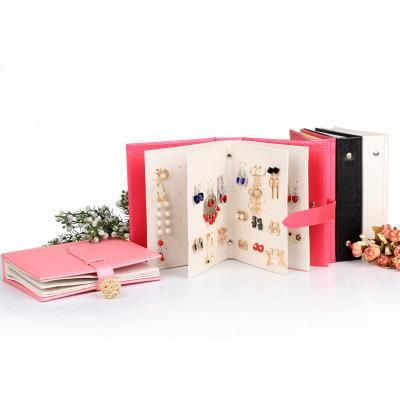 1pcs Hot Women Stud Earrings Collection Book PU Leather Earring Storage Box Creative Jewelry Display Holder Jewellery Organizer