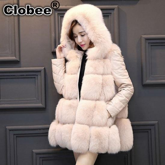 Veste femme 2019 Black Faux Fur Vest Furry Winter Fur Jacket Coats for Women Female Vest Faux Coat Hooded colete WA45