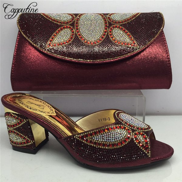 Designer nigeriano stile estate donna scarpe e borsa set 2019 moda strass pompe scarpe e borsa di corrispondenza impostato per partito Bl165c