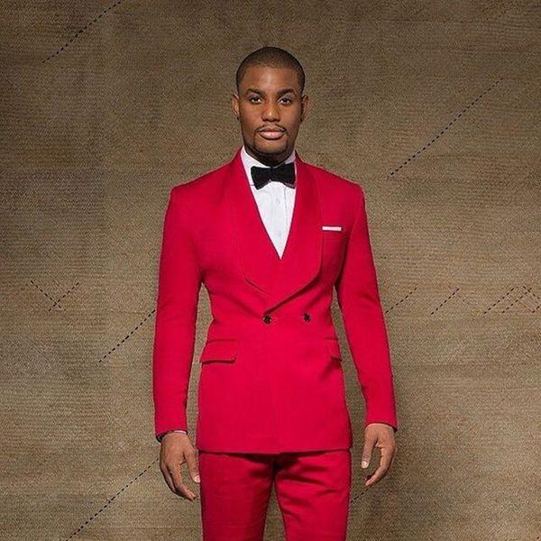 Atraente Vermelho Um Botão Double Breasted Ternos Dos Homens Xaile Lapela Ternos De Casamento Para Homens Com Jaqueta Calças De Baile Smoking Dois Peças Blazers