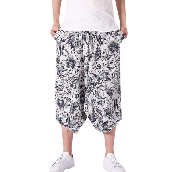 Erkek pantolon Rahat erkek Geniş İpli Kasık Harem Pamuk Keten Beyaz Baskı Geniş bacaklı Bloomers Baggy Kırpılmış Pantolon L415A